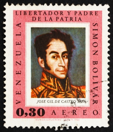 the liberator: VENEZUELA - CIRCA 1966: un francobollo stampato in mostra Venezuela Simon Bolivar, Libertador, rivoluzionario, Ritratto, il presidente del Venezuela 2, 1813 - 1814, circa 1966