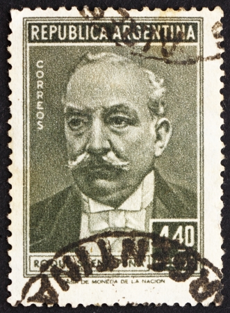 ARGENTINA - CIRCA 1957: a stamp printed in the Argentina shows Roque Saenz Pena Lahite, President of Argentina, 1910 - 1914, circa 1957 Stock Photo - 14818791