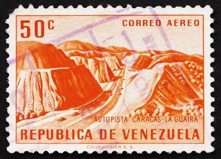 caracas: VENEZUELA - CIRCA 1956: a stamp printed in the Venezuela shows Caracas � La Guaira Highway, circa 1956