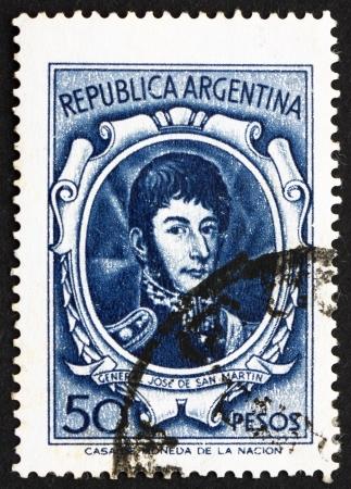 jose de san martin: ARGENTINA - CIRCA 1955: a stamp printed in the Argentina shows Jose de San Martin, General, circa 1955