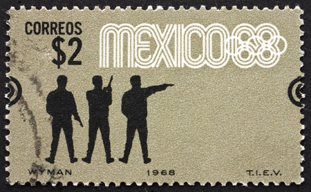 summer olympics: MEXICO - CIRCA 1968: a stamp printed in the Mexico shows Pistol Shooting, Summer Olympics, Mexico City 68, circa 1968
