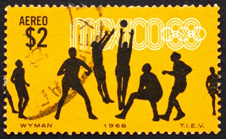 MEXICO - CIRCA 1968: a stamp printed in the Mexico shows Volleyball, 19th Olympic Games, Mexico City 68, circa 1968 Stock Photo - 14819748