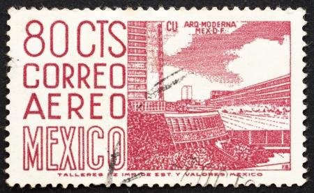 MEXICO - CIRCA 1952: a stamp printed in the Mexico shows Mexico City University Stadium, circa 1952
