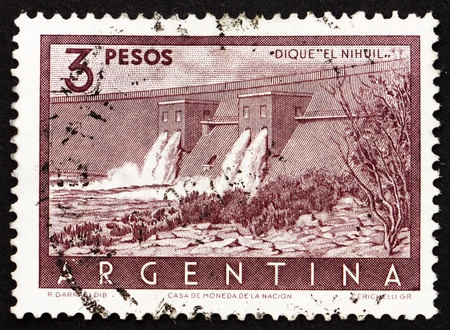 ARGENTINA - CIRCA 1956: a stamp printed in the Argentina shows Nihuil Dam, Mendoza, Argentina, circa 1956