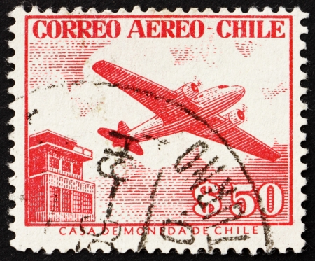 CHILE - CIRCA 1956: a stamp printed in the Chile shows Control Tower and Plane, circa 1956