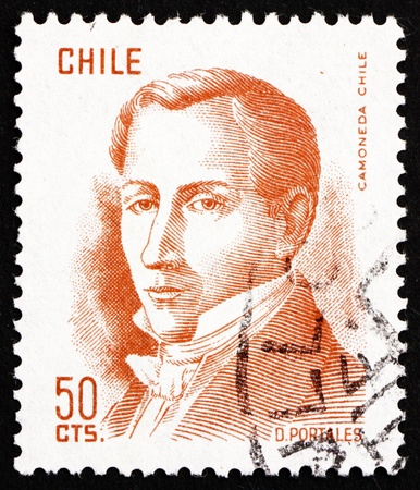 CHILE - CIRCA 1975: a stamp printed in the Chile shows Diego Portales, Statesman, Finance Minister, circa 1975