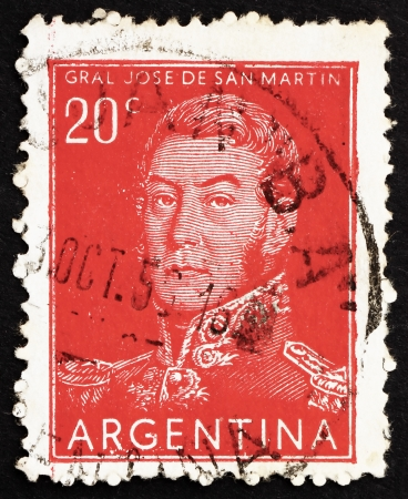 ARGENTINA - CIRCA 1954: a stamp printed in the Argentina shows Jose de San Martin, General, circa 1954