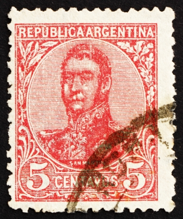 ARGENTINA - CIRCA 1908: a stamp printed in the Argentina shows Jose de San Martin, General, circa 1908 Stock Photo - 14833997