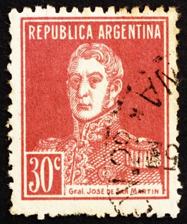ARGENTINA - CIRCA 1923: a stamp printed in the Argentina shows Jose de San Martin, General, circa 1923 Stock Photo - 14833998