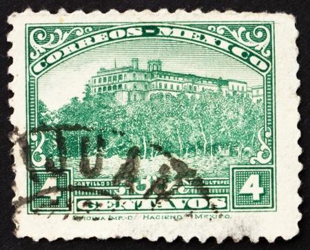 MEXICO - CIRCA 1923: a stamp printed in the Mexico shows Chapultepec Castle, Mexico City, circa 1923