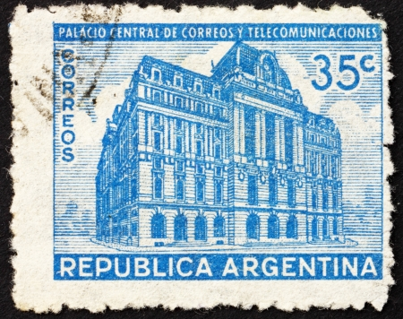 ARGENTINA - CIRCA 1942: a stamp printed in the Argentina shows General Post Office, Buenos Aires, circa 1942