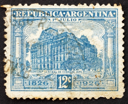 ARGENTINA - CIRCA 1926: a stamp printed in the Argentina shows General Post Office, Buenos Aires, circa 1926