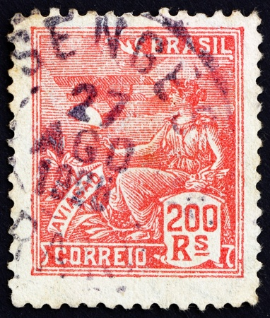 BRAZIL - CIRCA 1922: a stamp printed in the Brazil shows Allegory of Aviation, circa 1922