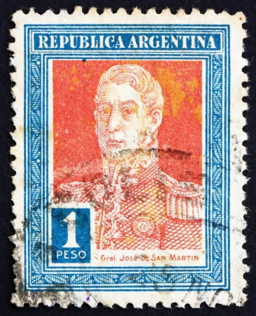 ARGENTINA - CIRCA 1923: a stamp printed in the Argentina shows Jose de San Martin, General, circa 1923 Stock Photo - 14904784