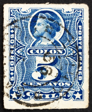 CHILE - CIRCA 1883: a stamp printed in the Chile shows Christopher Columbus, Cristobal Colon, Explorer, Colonizer, Navigator, circa 1883 Stock Photo - 14904773