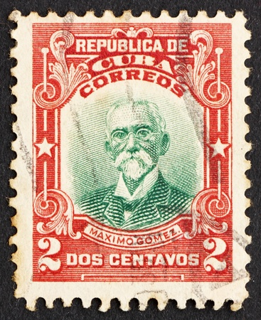 maximo: CUBA - CIRCA 1910: a stamp printed in the Cuba shows Maximo Gomez, General, circa 1910 Editorial