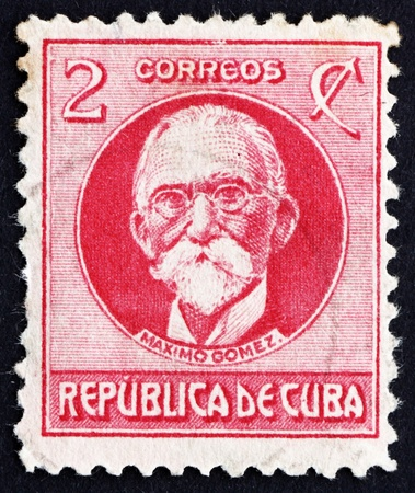 maximo: CUBA - CIRCA 1917: a stamp printed in the Cuba shows Maximo Gomez, General, circa 1917