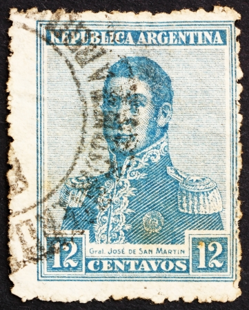 ARGENTINA - CIRCA 1917: a stamp printed in the Argentina shows Jose de San Martin, General, circa 1917 Stock Photo - 14904814