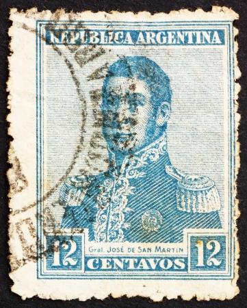 ARGENTINA - CIRCA 1917: a stamp printed in the Argentina shows Jose de San Martin, General, circa 1917 Stock Photo - 14904814