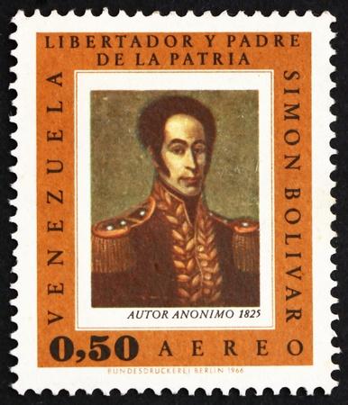 liberator: VENEZUELA - CIRCA 1966: a stamp printed in the Venezuela shows Simon Bolivar, Liberator, Revolutionary, Portrait, 2nd President of Venezuela, 1813 - 1814, circa 1966 Editorial