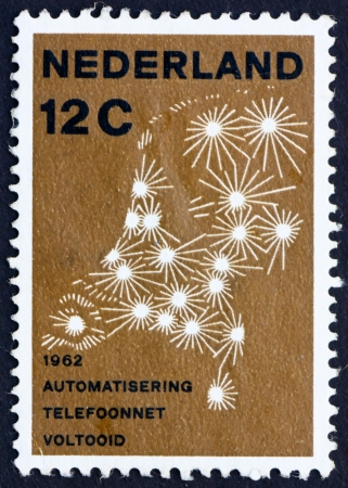 NETHERLANDS - CIRCA 1962: a stamp printed in the Netherlands shows Map Showing Telephone Network, Completion of the Automation of the Netherlands Telephone Network, circa 1962