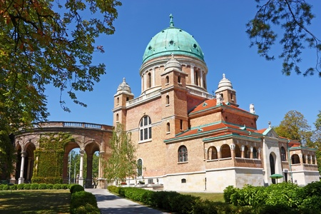 The main entrance to Mirogoj cemetery and Church of Christ the King, Zagreb, Croatia