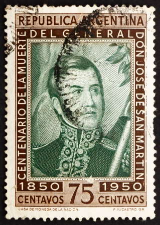 ARGENTINA - CIRCA 1950: a stamp printed in the Argentina shows Jose de San Martin, General, Death Centenary, circa 1950 Stock Photo - 14986188