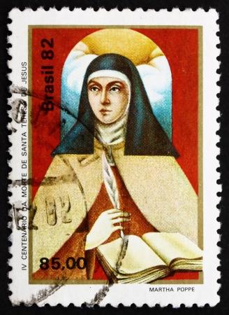 carmelite nun: BRAZIL - CIRCA 1982: a stamp printed in the Brazil shows St. Theresa of Avila, Portrait, Reformer of the Carmelite Order, circa 1982 Editorial