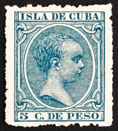 CUBA - CIRCA 1896: a stamp printed in the Cuba shows Alfonso XIII, King of Spain, circa 1896