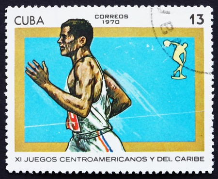 CUBA - CIRCA 1970: a stamp printed in the Cuba shows Running, 11th Central American and Caribbean Games, Panama, circa 1970