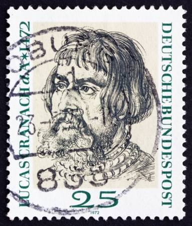 durer: GERMANY - CIRCA 1972: a stamp printed in the Germany shows Lucas Cranach, by Durer, circa 1972 Editorial