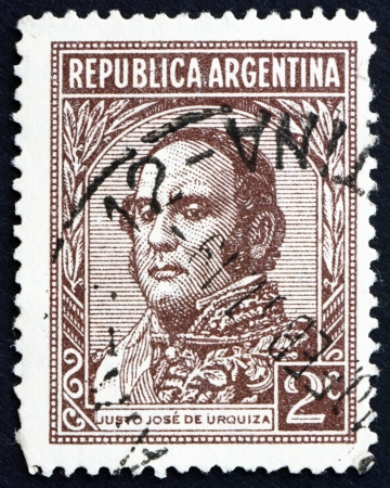 ARGENTINA - CIRCA 1935: a stamp printed in the Argentina shows Justo Jose de Urquiza y Garcia, President of Argentina, 1854 - 1860, circa 1935 Stock Photo - 15056133