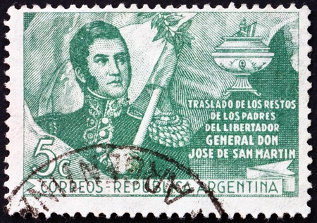 ARGENTINA - CIRCA 1949: a stamp printed in the Argentina shows Jose de San Martin, General, Transfer of the Remains of Generals Parents, circa 1949 Stock Photo - 15056131