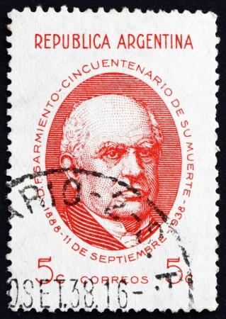 sarmiento: ARGENTINA - CIRCA 1938: a stamp printed in the Argentina shows Domingo Faustino Sarmiento, 7th President of Argentina, 1868 - 1874, circa 1938