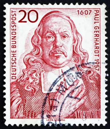 hymn: GERMANY - CIRCA 1957: a stamp printed in the Germany shows Paul Gerhardt, 350th Anniversary of the Birth of Paul Gerhardt, Lutheran Clergyman and Hymn Writer, circa 1957