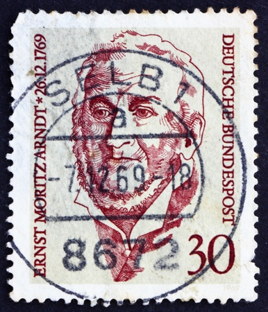 national poet: GERMANY - CIRCA 1969: a stamp printed in the Germany shows Ernst Moritz Arndt, Historian, Poet and Member of German National Assembly, circa 1969 Editorial
