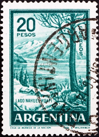 lake argentina: ARGENTINA - CIRCA 1960: a stamp printed in the Argentina shows Nahuel Huapi Lake, circa 1960