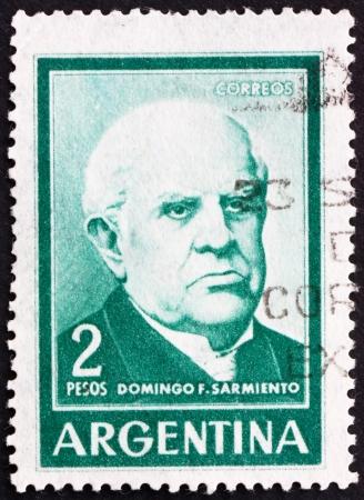 sarmiento: ARGENTINA - CIRCA 1962: a stamp printed in the Argentina shows Domingo Faustino Sarmiento, 7th President of Argentina, 1868 - 1874, circa 1962