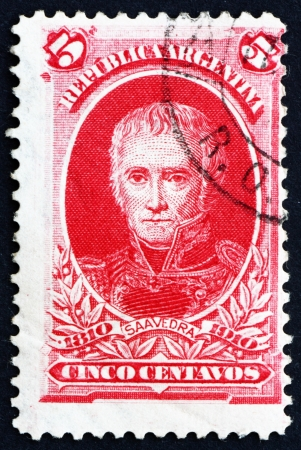statesman: ARGENTINA - CIRCA 1910: a stamp printed in the Argentina shows Cornelio Saavedra, Military Officer and Statesman, President of Primera Junta, circa 1910 Editorial