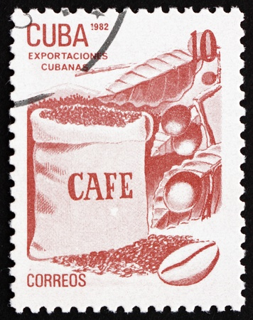 CUBA - CIRCA 1982: a stamp printed in the Cuba shows Coffee, Cuban Export, circa 1982