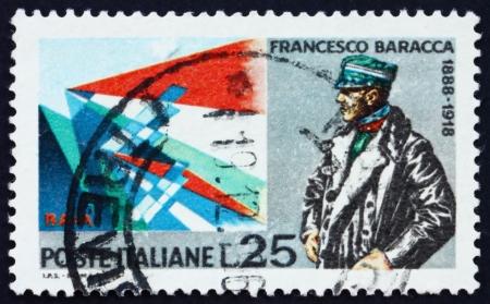 francesco: ITALY - CIRCA 1968: a stamp printed in the Italy show Major Francesco Baracca, World War I Aviator, Planes by Giacomo Balla, circa 1968