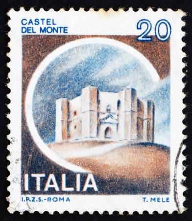 ITALY - CIRCA 1980: a stamp printed in the Italy shows Castle Del Monte, Andria, circa 1980 Stock Photo - 15180329