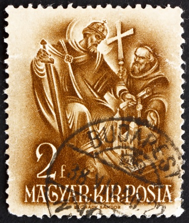 HUNGARY - CIRCA 1938: a stamp printed in the Hungary shows Stephen the Church Builder, 900th Anniversary of the Death of St. Stephen, circa 1938 Stock Photo - 15180358