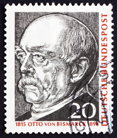 statesman: GERMANY - CIRCA 1965: a stamp printed in the Germany shows Otto von Bismarck, Prussian Statesman, Painting by Franz von Lenbach, circa 1965