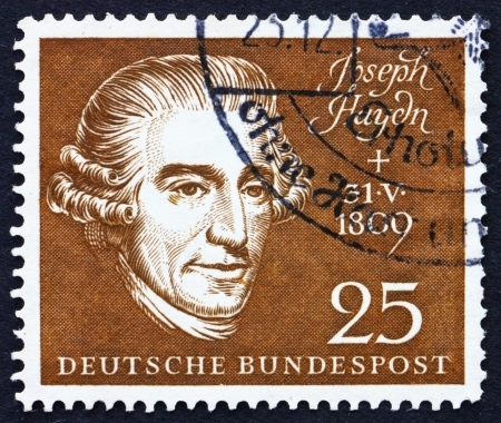 GERMANY - CIRCA 1959: a stamp printed in the Germany shows Joseph Haydn, Composer, circa 1959