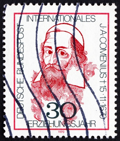 theologian: GERMANY - CIRCA 1970: a stamp printed in the Germany shows John Amos Comenius, Theologian and Educator, circa 1970 Editorial