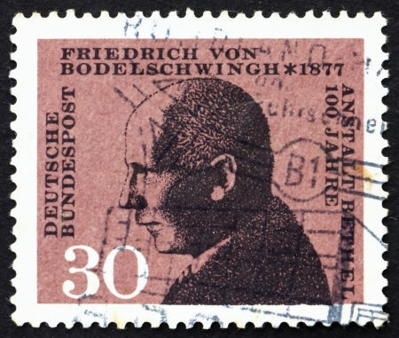 incurable: GERMANY - CIRCA 1967: a stamp printed in the Germany shows Friedrich von Bodelschwingh, Manager of Bethel Institution for the Incurable, circa 1967