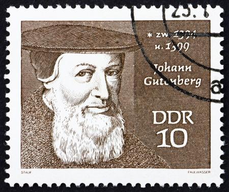 gutenberg: GDR - CIRCA 1970: a stamp printed in GDR shows Johann Gutenberg, Engraver, Inventor and Printer, circa 1970 Editorial