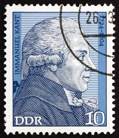 immanuel: GDR - CIRCA 1974: a stamp printed in GDR shows Immanuel Kant, Philosopher, circa 1974 Editorial