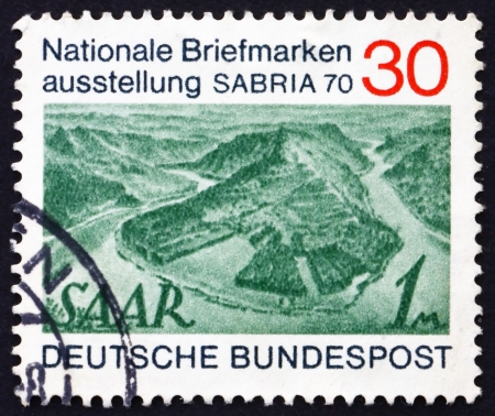 saar: GERMANY - CIRCA 1970: a stamp printed in the Germany shows View of Saar River near Mettlach, circa 1970